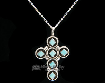 "Native American Silver Cross Necklace 20"" -Zuni"