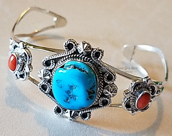 Native American Silver Cuff -Turquoise & Red Coral