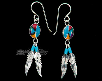 Navajo Silver Inlaid Earrings -Feathers