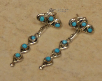 Native American Zuni Silver and Turquoise Earrings