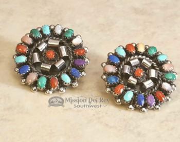Zuni Sterling Silver & Stone Earrings