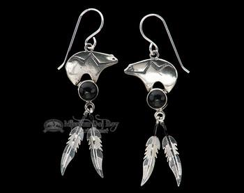 Navajo Silver Earrings -Black Onyx Bears