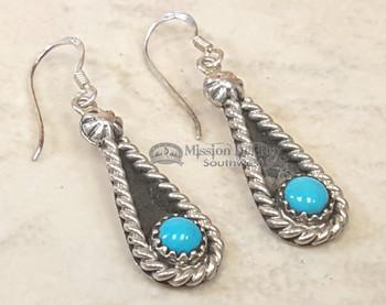 Native American Navajo Silver Earrings -Turquoise