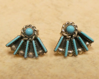 Pair Native American Navajo Silver Earrings -Turquoise