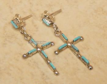 American Indian Silver Cross Earrings - Turquoise