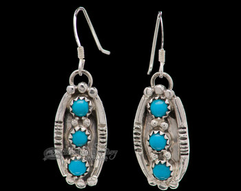 Navajo American Indian Silver Earrings