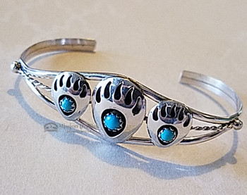 Native American Sterling Silver Cuff Bracelet -Bear Paw