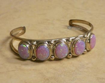 Native American Sterling Silver & Pink Opal Cuff -Navajo