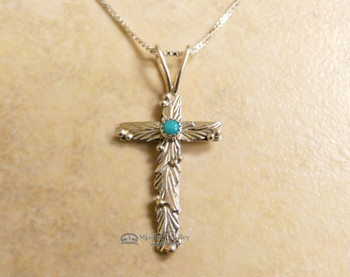 "Silver and Turquoise Cross Necklace - 20"" Chain"