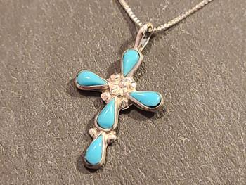 """Native American Silver Cross & Chain 20"""""""