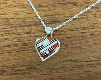 "Silver Pendant Heart Necklace 18"""