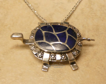 "Southwest Indian Silver Pendant Necklace 22"" -Turtle"