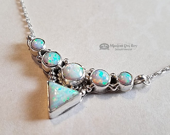 "6 Stone Navajo Silver Necklace 18"" -Opal"