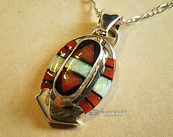 Inlaid Silver Pendant & Necklace 20""