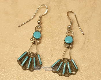 Native American Silver Earrings -Needle Point Turquoise