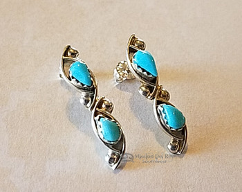 Zuni Native American Silver Earrings -Turquoise