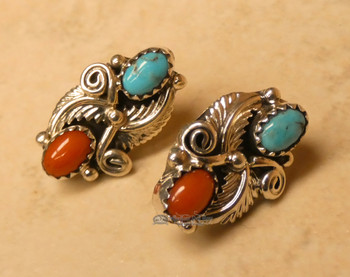 Native American Indian Silver Earrings - Navajo