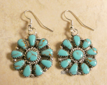 Native American Silver & Turquoise Earrings - Navajo