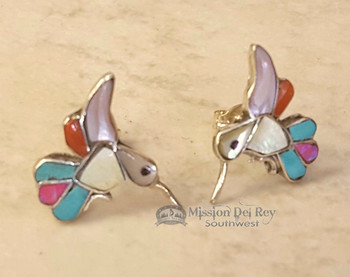 Zuni American Indian Silver Earrings -Hummingbirds
