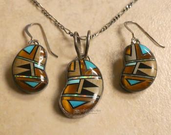 "Navajo Silver Necklace & Earrings 20"""