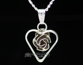"Silver Rose Heart Pendant Necklace 20"" -Navajo"