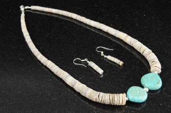 Native American Jewelry -Necklace & Earring Set 17""
