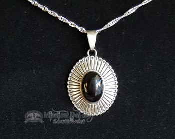 "Southwest Sterling Silver Pendant & Necklace-Oval 2"""