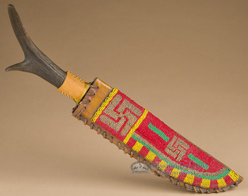 Vintage beaded sheath with antler handle knife.