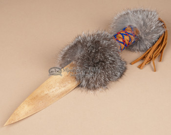 Leather and Beaded Handle with Bone Blade Knife