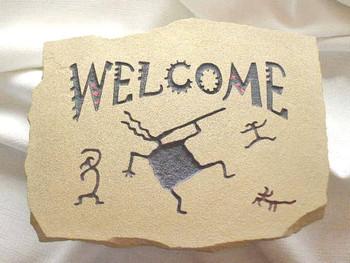 Tan Welcome Wall Plaque - Kokopelli