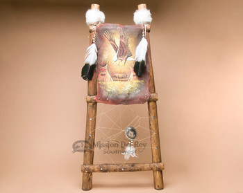 Eagle Painted Hide Rack Log Ladder