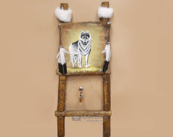 Southwestern Painted Rawhide Dreamcatcher Ladder