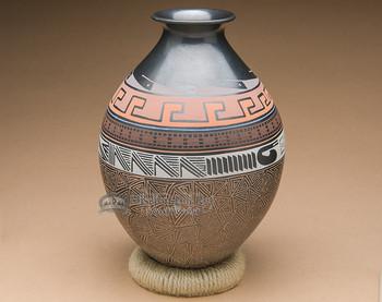 Black Etched Mata Ortiz Pottery Vase