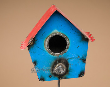 "Rustic Metal Yard Art 44"" -Bird House on Stick"