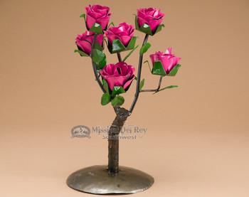Rustic yard art - pink roses.