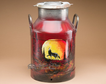 Painted Milk Can - Sunset Wolf.