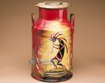 Genuine Hand Painted Milk Can -Kokopelli
