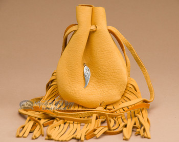 """Navajo Indian Silver Feather Pouch 4.5"""" -Deerskin  (b329)"""