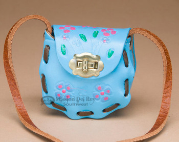 Mini Cowhide Leather Purse -sky blue