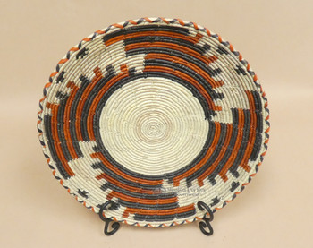 Native Style Hand Coiled Flat Basket & Stand