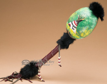 Tarahumara Painted Gourd Rattle -Teepee