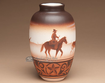 "Native American Navajo Indian Vase 9.5"" -Cowboy"