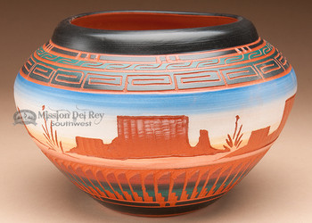 """Native American Etched Pottery Vase 7.5"""" -Navajo (p208)"""