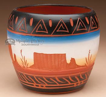 "American Indian Navajo Vase 5x4"" -Hand Etched (p216)"