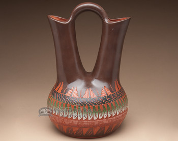 "Native American Etched Navajo Wedding Vase 13"" (p255)"