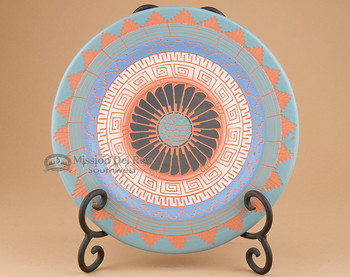 Navajo Etched Pottery Plate with Stand