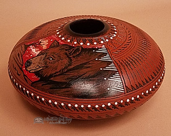 """Navajo Etched Clay Indian Pottery Vase 10"""" -Bear"""
