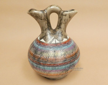 Navajo Etched Wedding Vase -Turquoise
