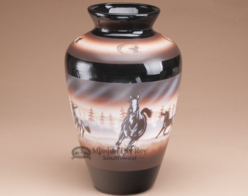 Painted Navajo Pottery Vase - Running Horses