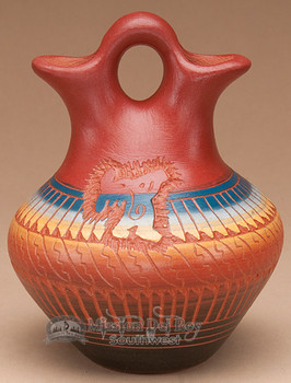 "Indian Pottery Etched Clay Wedding Vase 5"" -Navajo (p317)"